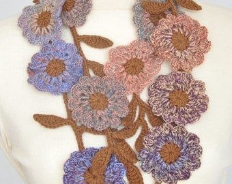 Floral Smile - Fall - Crochet Multicolor Flowers Lariat/Scarf/Belt