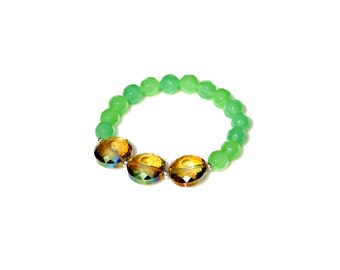 Green Bracelet, Yellow Crystal Bracelet, Stackable Bracelet, Stretch Bracelet, STATEMENT Jewlery, Celebrity Style, by Mei Faith
