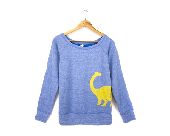 Dino - Hand STENCILED Relaxed Fit Raglan Slouchy Scoop Neck Sweater in Heather Blue and Yellow - S M L XL 2XL
