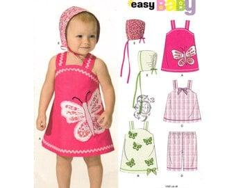 Baby Girls Dress Top Pants Hat Pattern New Look 6955 Summer Sunsuit Butterfly Applique Infant Girls Sewing Pattern Size NB S M L Uncut