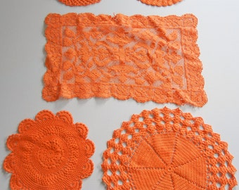 Hand Dyed Vintage Doily Set / Orange cotton / set of 5 / Bridal or wedding decoration / Upcycle / Spring / Easter / Doilies / Halloween
