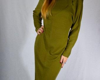 Vintage 80s Olive Green Nicole Miller Bodycon Wool Sheath Dress MINT (sz 6 8)