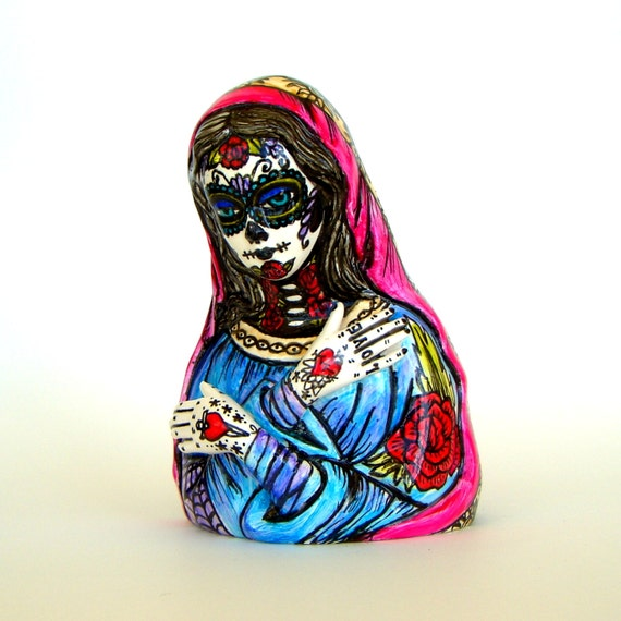 Day Of The Dead Hand Tattoo: Day Of The Dead Madonna Planter Tattoo Hand Painted By