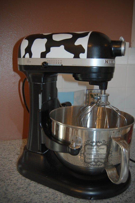 Diy Kitchenaid Mixer Decals ~ Stand up mixer cow print vinyl decal by kreativecorner on etsy