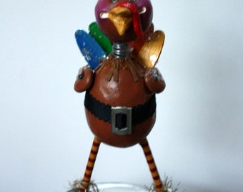 Thanksgiving  Holiday Tom Turkey Bird Whimsical Folk Art Doll Decoration