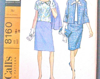 Uncut 60s Skirt Overblouse and Jacket Pattern Misses' Suit  by McCall's 8160  Bust 39 inches