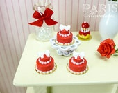 French Valentine's Bow Cake Pastry - 12th Scale Miniature Food