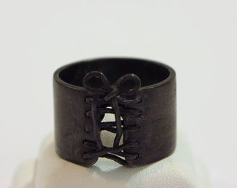 Black Corset Ring Oxidized Sterling Silver Wide Band Lace Tied Up Bow Bdsm Ring