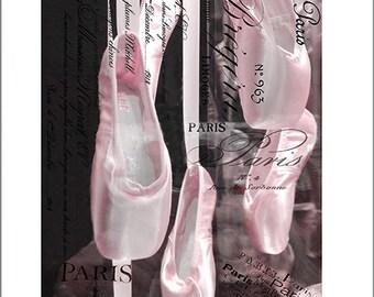 Paris Ballerina Prints, Pointe Shoes Print, Ballet Wall Art, Ballet Dance Slippers Print, Ballet Pointe Shoes Photo, Paris Baby Girl Nursery