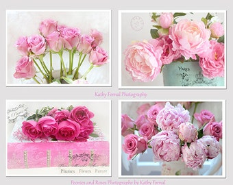 Peony and Roses Print Set, Shabby Chic Decor, Peonies Roses Garden Wall Art, Paris Peonies, Pink Roses Flowers, Romantic Pink Peonies Decor