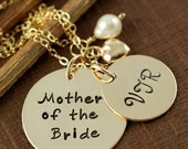 Mother of the Bride Necklace, Personalized Necklace, Gold Initial Monogram, Hand Stamped Necklace, Bridesmaid Jewelry