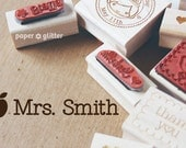 Apple Classroom Personalized Rubber Stamp or Self Inking Stamp - Name or Phrase