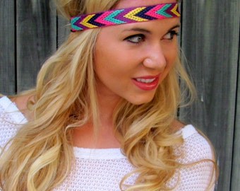 Thin Stretch Headband Chevron Arrow Headband Pink Navy Blue Yellow Woven Bohemian HairBand Hippie Tribal Native Band Coachella Band