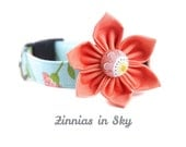 Floral Dog Collar Flower Set - Zinnias in Sky - Coral and Aqua