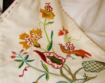 Vintage Handmade Embroidered Tote Handbag Purse Floral Birds Folk Boho
