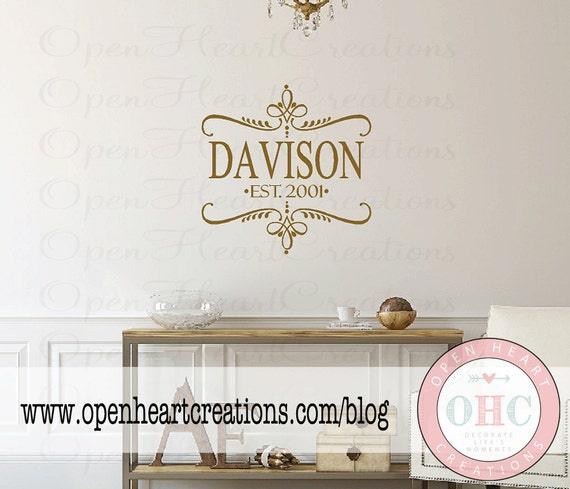 Family Name Decal with Accents and Year Established - Living Room Entry Way Bedroom Wall Decal Decor 22H x 22W FN0201