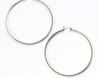 """Large sterling silver hoop earrings, unique alternative to the classic hoops handmade of flattened beaded silver wire - """"Reyna Hoops"""""""