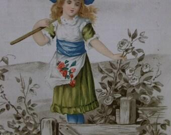 Pretty Gardening Girl-Rake-Roses-Victorian Trade Card-Quaker Bread-Heissler & Junge Co-1800's