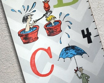Custom Painted Seuss Inspired ABC Growth Chart Canvas