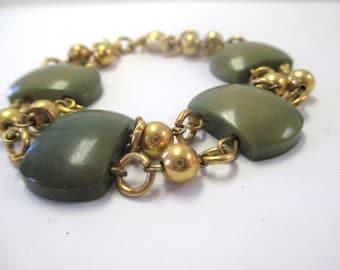 Vintage 60's Jade/Bakelite Antique Style Bracelet DEADSTOCK