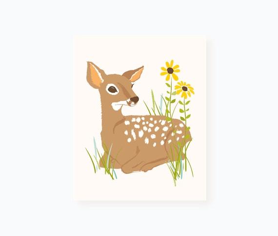 deer wall art, woodland art for kids, nursery wall decor for children