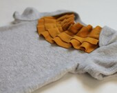 baby girl bodysuit--mustard ruffle collar on ash grey--hudson & ruthie