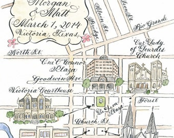 Partial Watercolor Wedding Map DIY, print at home or order prints