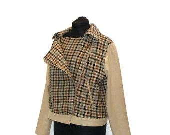 OOAK Wool color Block MotorCycle Style Jacket Wool Motorcycle Jacket Motorcycle Style Jacket Plaid Jackets For Women Wool Jacket Womens
