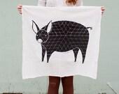 Pig Tea Towel, Printed with Eco Friendly Inks