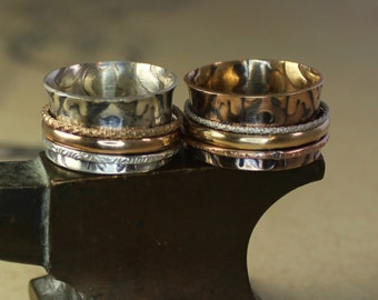 Imperial Sterling Silver Spinner Ring with Gold Spinner