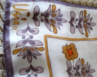 Vintage Vera Scarf Designer Floral Square Neckerchief  Gray Gold Orange 1980s