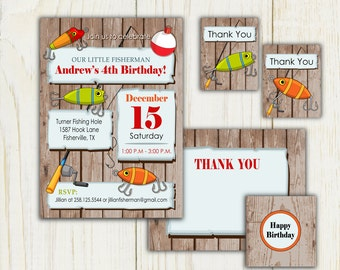 Fishing Birthday Invitation and party items - Digial files