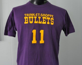 Burnout Vintage Tee Basketball Sports Number 11 Trink Et Shoppe Bullets  MA CT Super Soft and Thin Purple TShirt LARGE