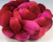 My Lovely Valentine -- Hand Dyed Hand Painted Falkland Merino Wool Roving for Spinning (4.15 oz)