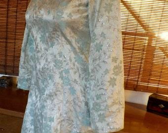 Vintage 60s Ice Blue Brocade metallic Mini Gogo Cocktail Dress S Free Shipping