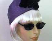 Lilac Silk Turban Hat with Feathers