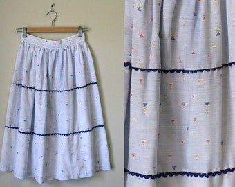 Vintage Confetti Print Navy & White Midi Skirt