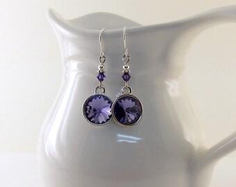 Swarovski Tanzanite Purple With Silver Earrings