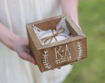 Personalized Ring Bearer Pillow Box Country Barn Wedding Decor Morgann Hill Designs (Item Number MHD100014)