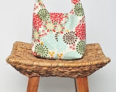 Insulated Lunch Bag Eco Friendly - Floral Deep Red Moss Green Robin Egg Blue