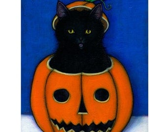 Black Cat Halloween cards. Jack O'Lantern Set of 5