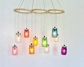 Rainbow Canopy Mason Jar Chandelier, Handcrafted Rustic Hanging Chandelier Lighting Fixture, BootsNGus Modern Country Lighting & Home Decor