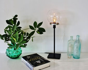 CRYSTAL BALL Table Top Lamp - Upcycled Lighting Fixture Featuring A Round Clear Glass Orb Globe - Modern Minimalist Lights - BootsNGus Lamps