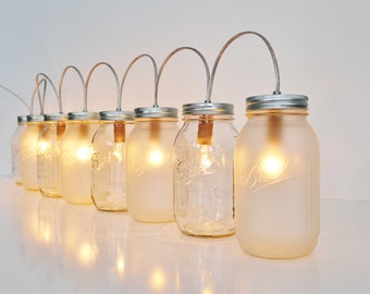 Mason Jar Lamp BANNER Style Lighting Fixture With 8 Quart Jars - Upcycled Rustic Wedding Holiday String Of Lights - BootsNGus Lamps Design