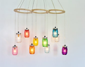 Rainbow Canopy Mason Jar Chandelier, Handcrafted Rustic Hanging Chandelier Lighting Fixture, BootsNGus Modern Country Lighting & Home Decor