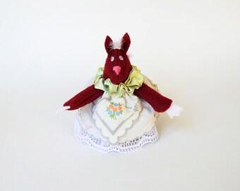 Felt Fox Ornament or Door Hanger in Maroon Felt Wearing a Vintage Handkerchief Dress in White, Blue, Gray, Pink and Green