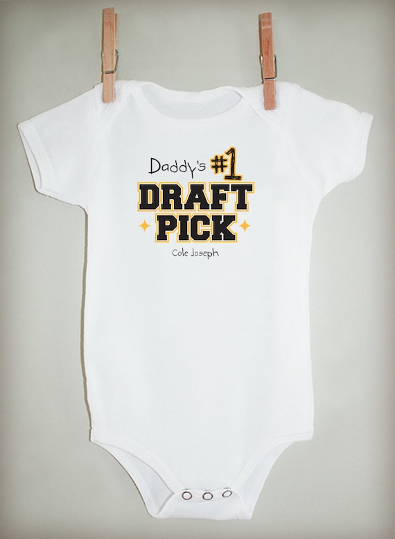 Daddy's No. 1 Draft Pick Football Bodysuit or T-shirt