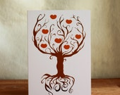 Persimmon holiday card with red envelope - festive trees series