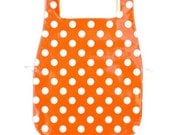 Waterproof Apron - Toddler - Orange Polka Dots