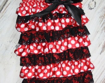 Minnie Mouse romper inspired Red and Black with polka dots, baby & toddler girl headband sold separate, Birthday, Photo, minnie mouse